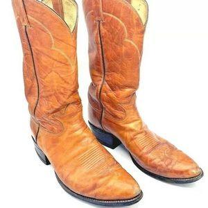 Tony Lama Vtg Mens Tan Cowboy Boots Style 5084